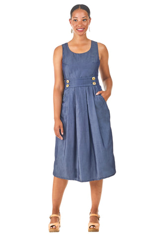 Pinafore in Olive Linen