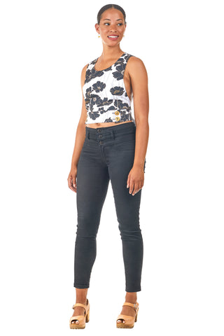 Reversible Crop top in Daisy and Black