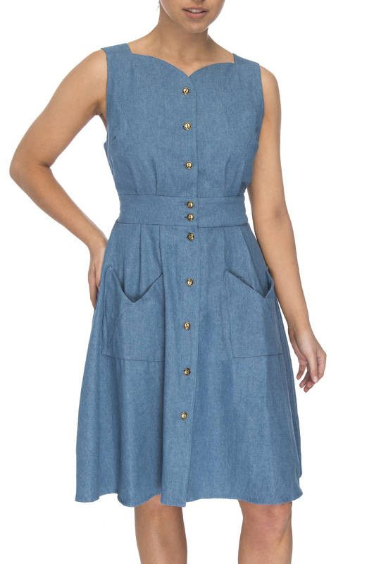 Sheet Dress in Washed Denim