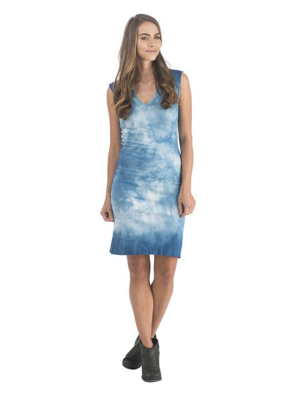 Shibori Indigo Vneck Dress