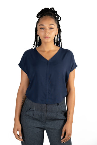 Unisex Button Up in Navy Weave