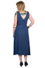 Long Wrap Dress in Navy Jacquard