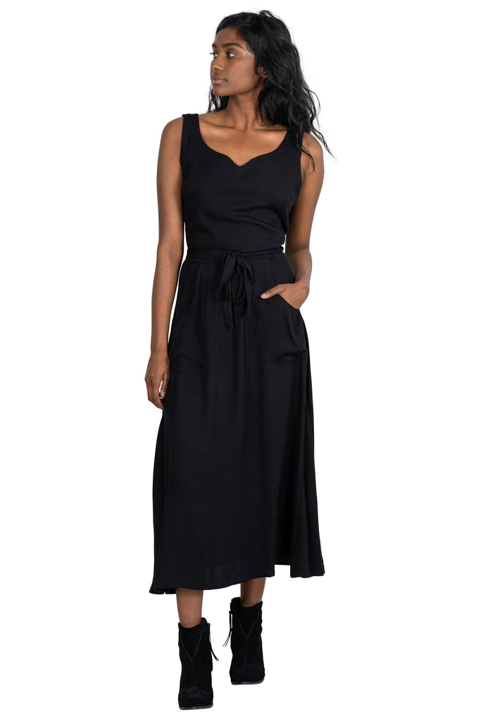 Long Wrap Dress in Black Crepe
