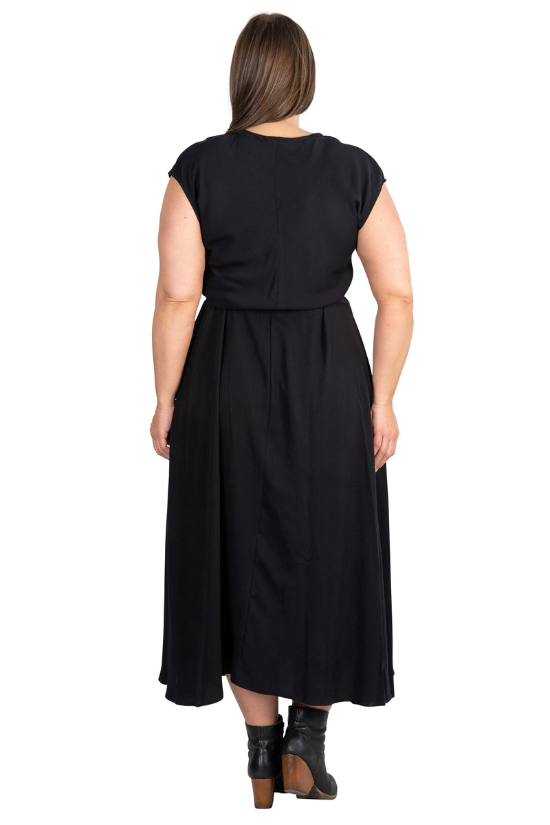 Belted Bias Dress in Black