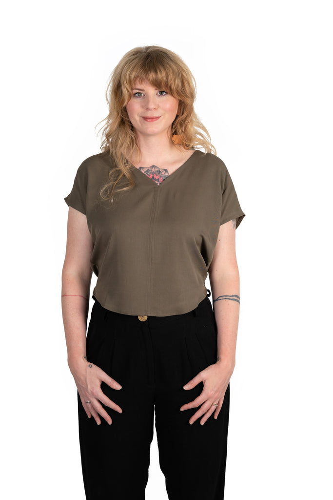 Dolman top in Olive Rayon Twill