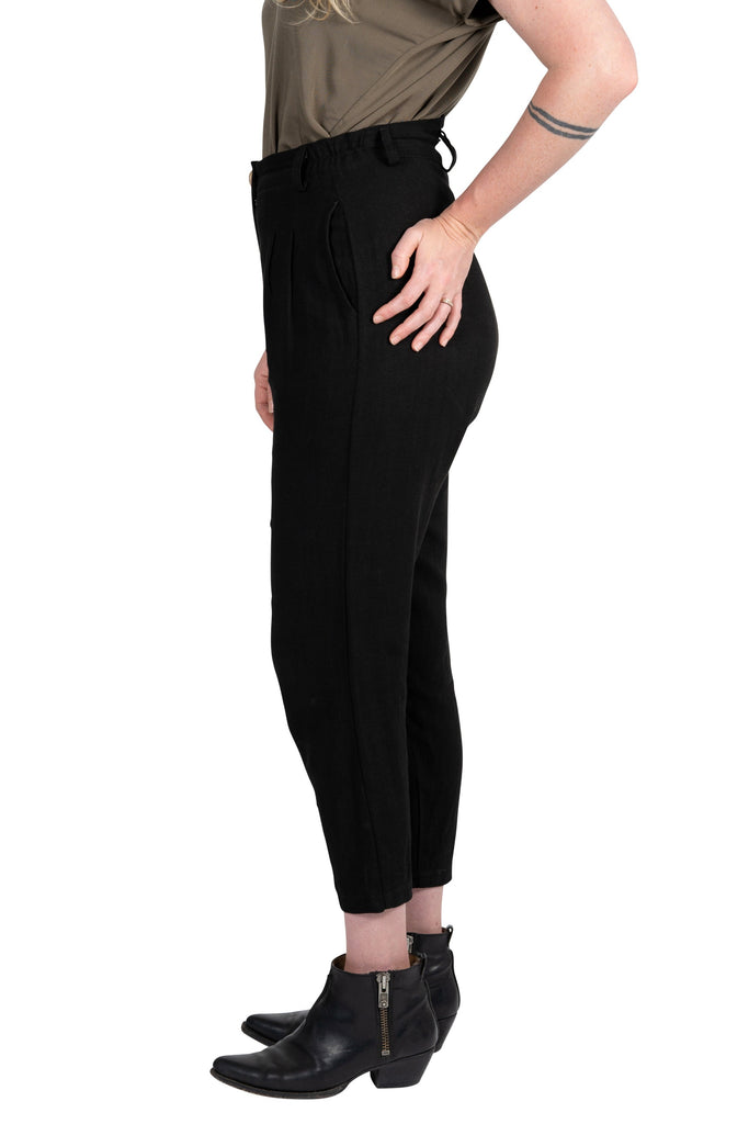 Perfect Pant in Black Linen
