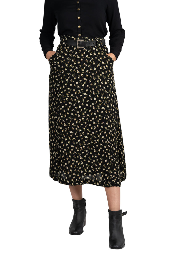 Olivia Skirt in Black Floral Crepe