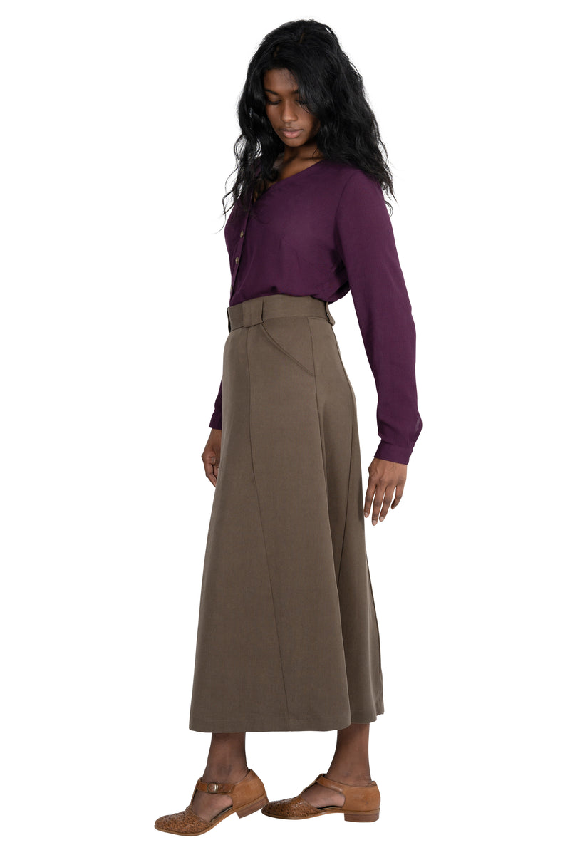 Olivia Skirt in Olive Tencel