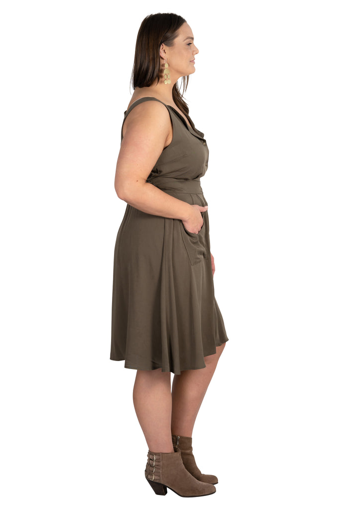 Sheet Dress in Olive Green