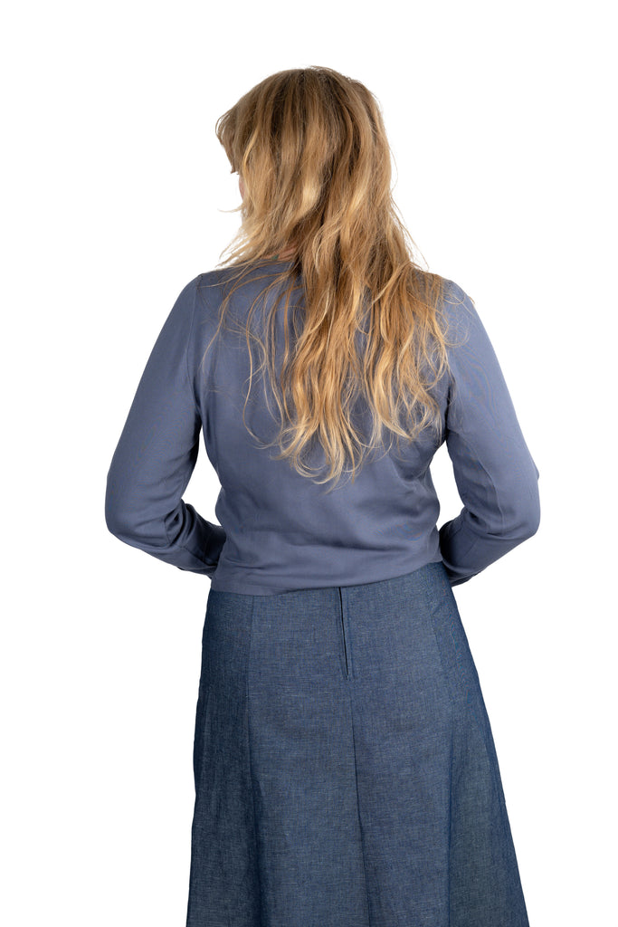 Brook Blouse in Blue Rayon Chambray