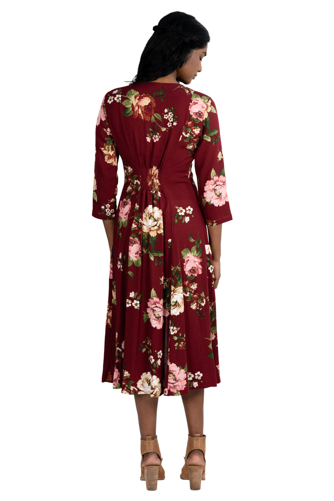 Fiona Dress in Pinot Rose Crepe