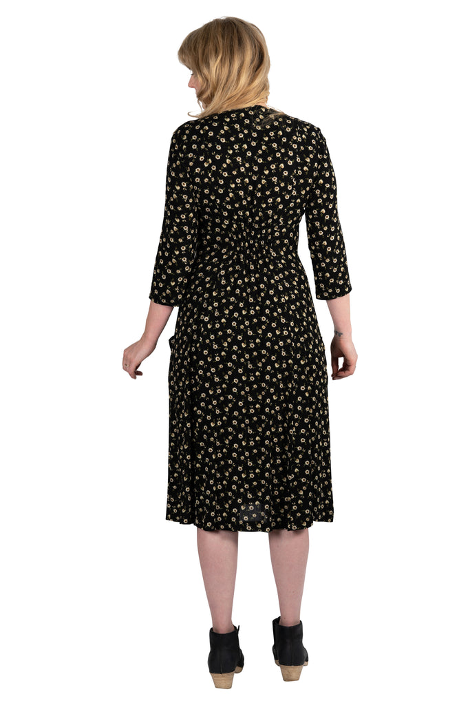 Fiona Dress in Black Floral Crepe
