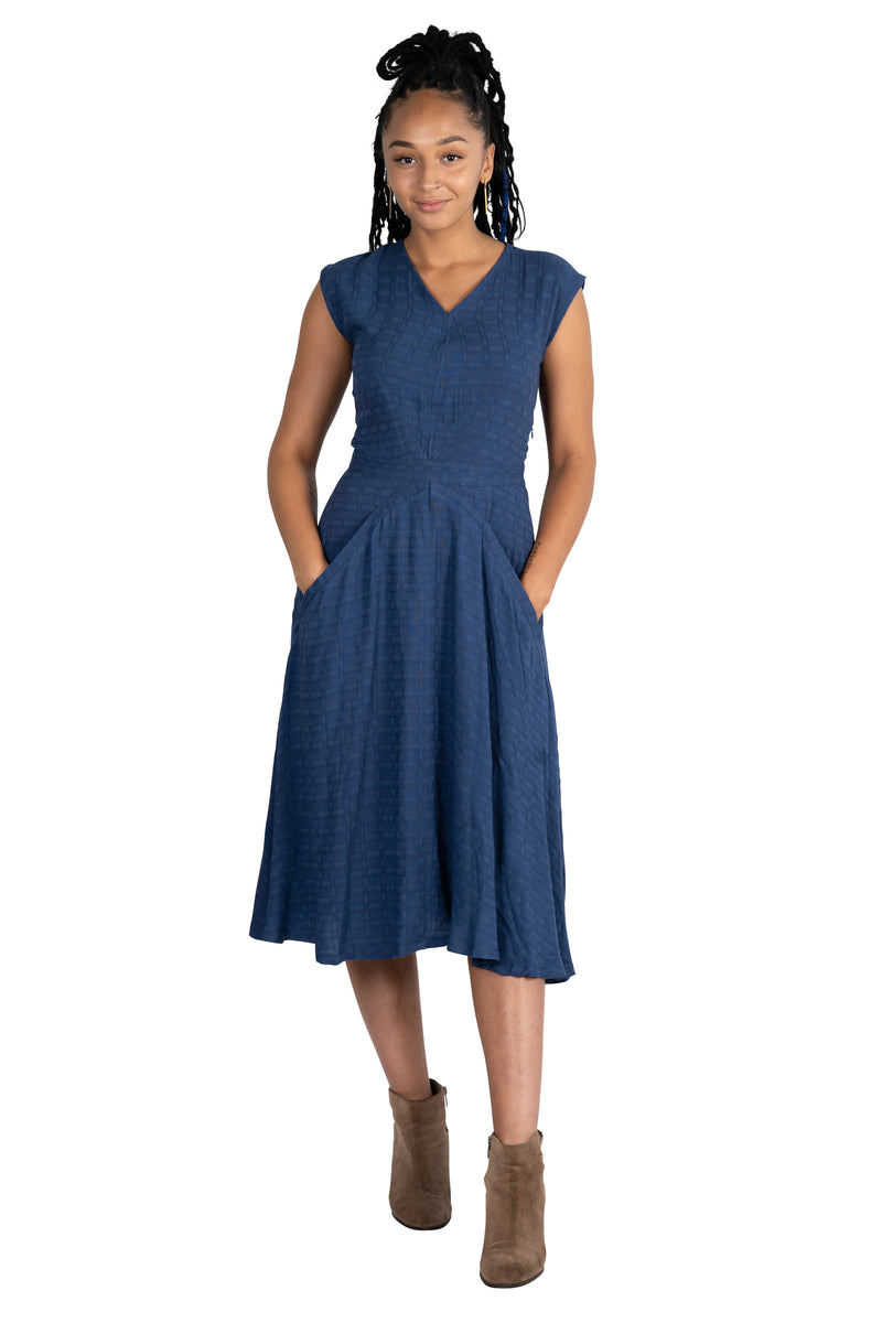 Xena Dress in Navy Jacquard