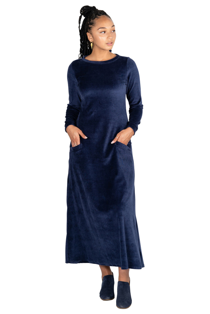 Maxi Dress in Blue Velvet
