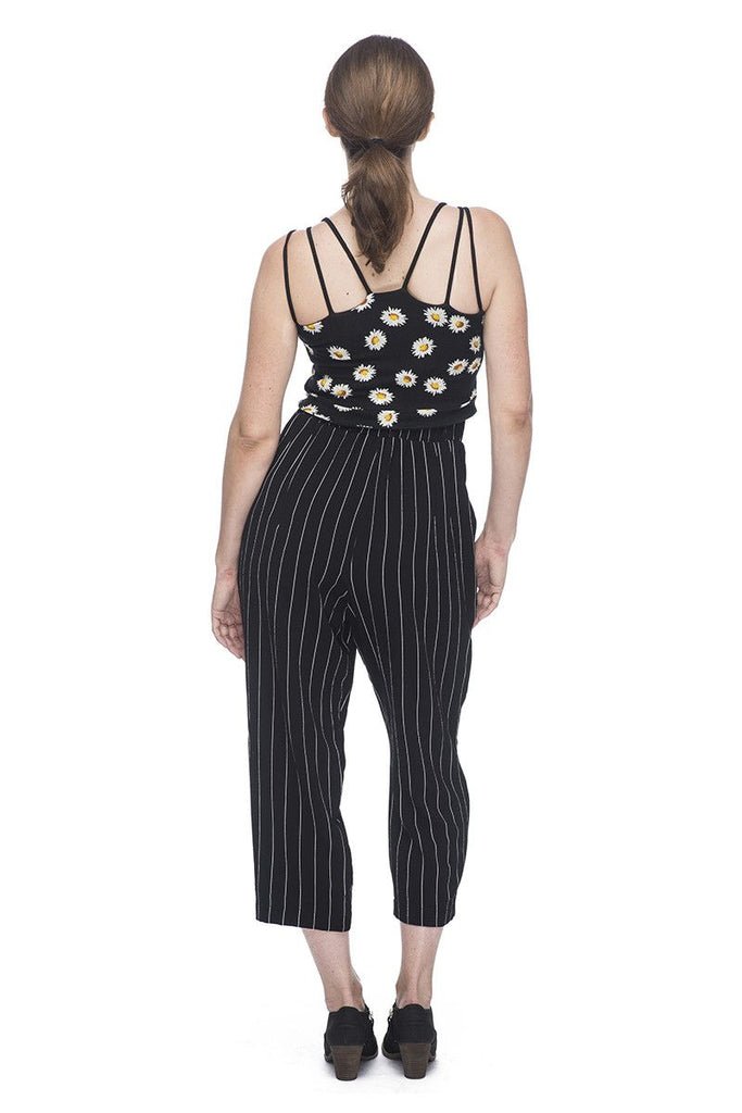 High Rise Pant in Black Stripe