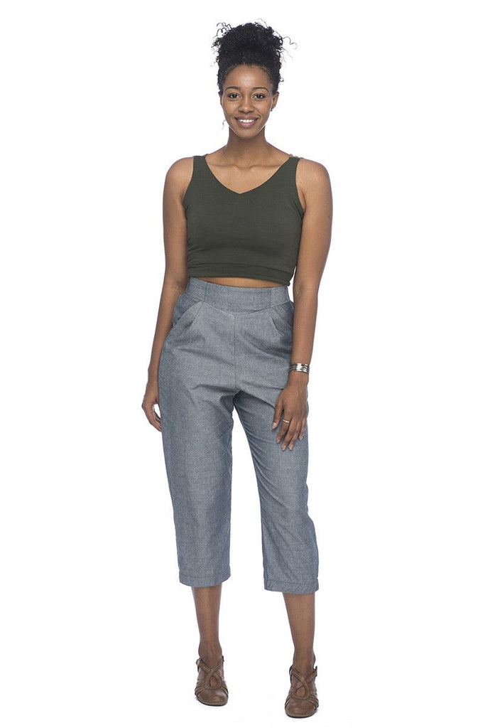 Reversible Crop top in Olive & Wheat