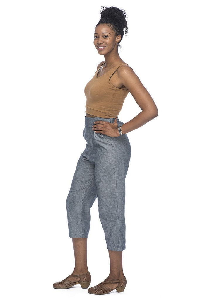 High Rise Pant in Chambray