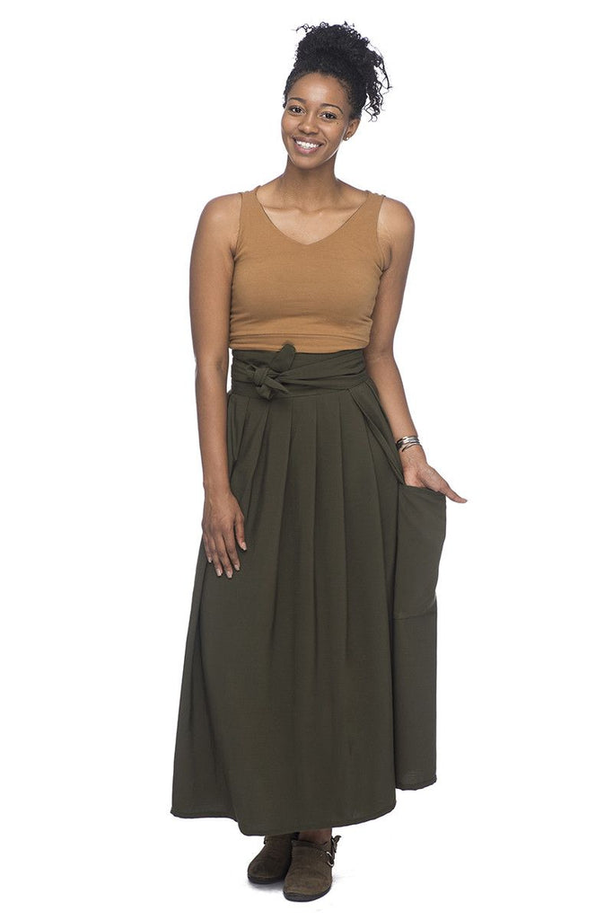Maxi Wrap Skirt in Green