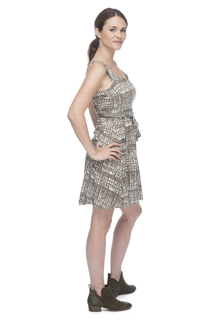 Wrap Dress in Taupe Texture
