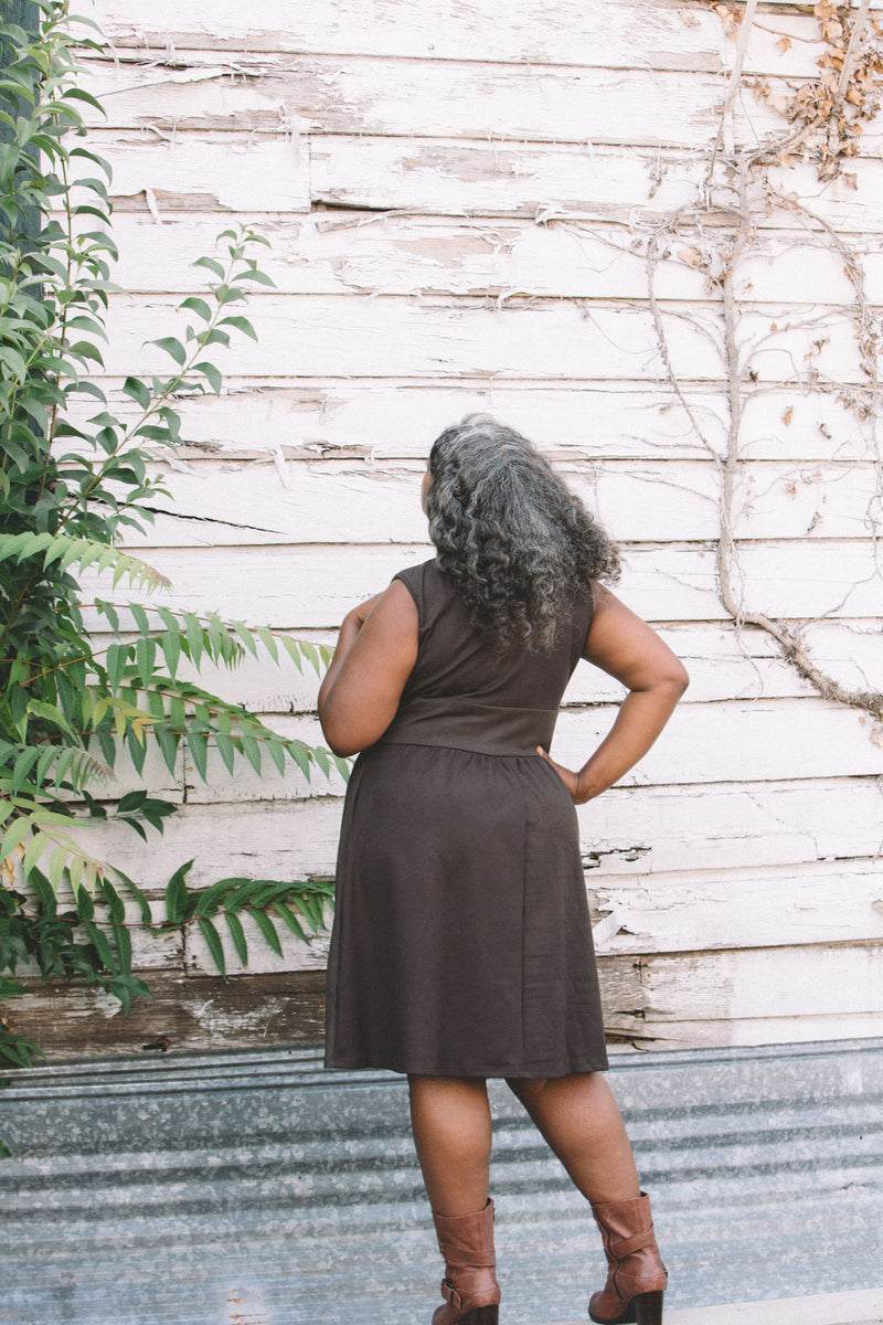 Mere Dress in Dark Brown Ponte
