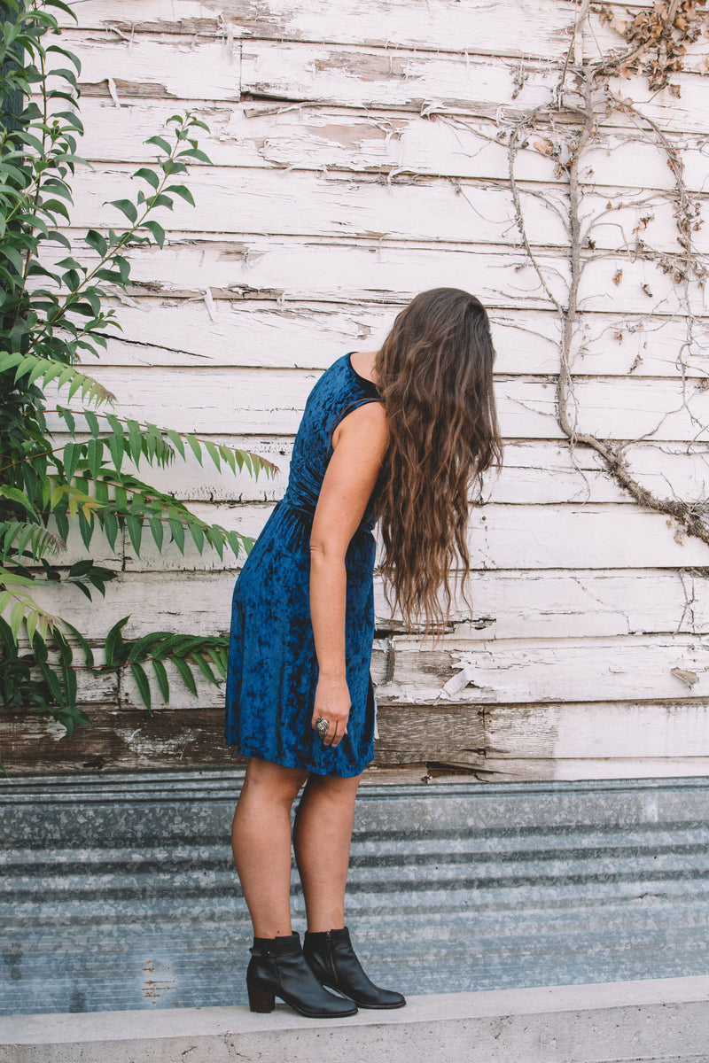Mere Dress in Blue Velvet
