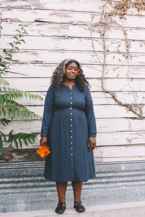 Vera Dress in Navy Challis