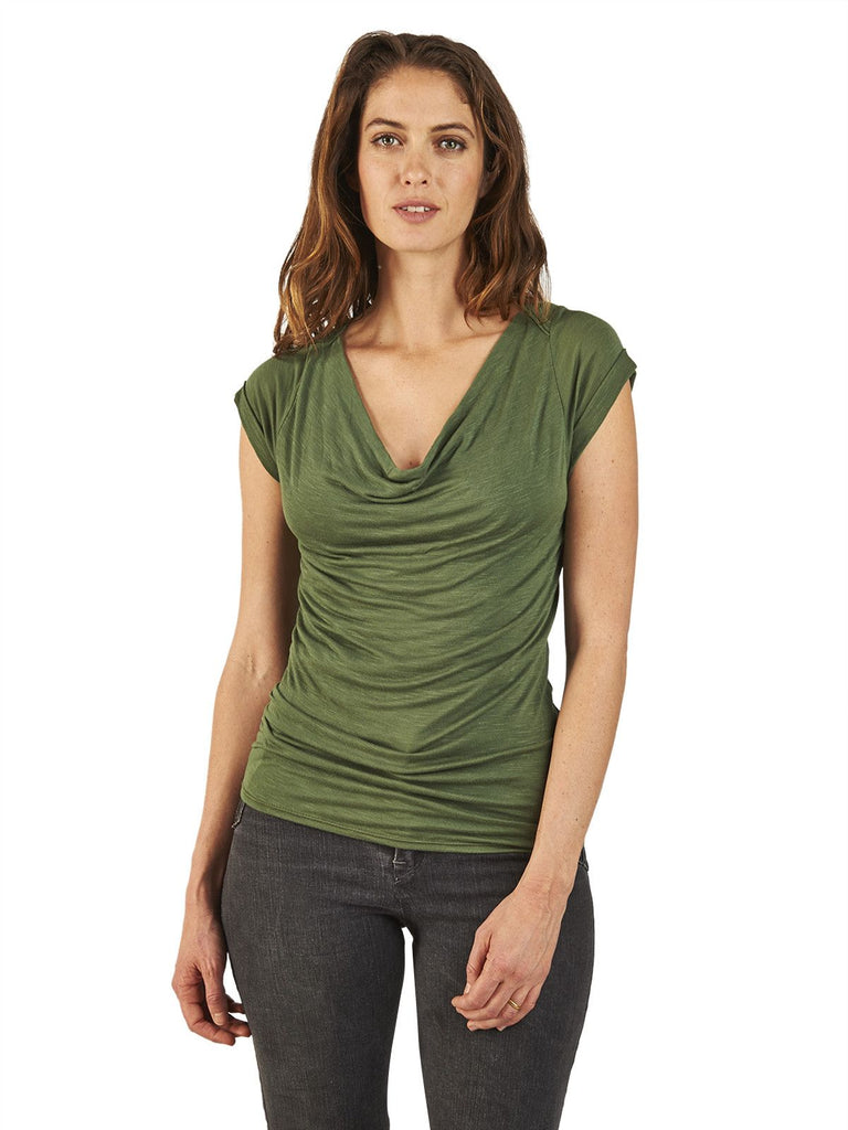 Cowl Neck Top in Sage Green