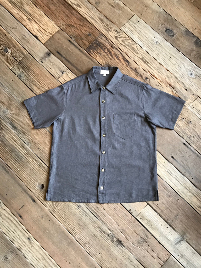 Unisex Button Up in Ash Linen