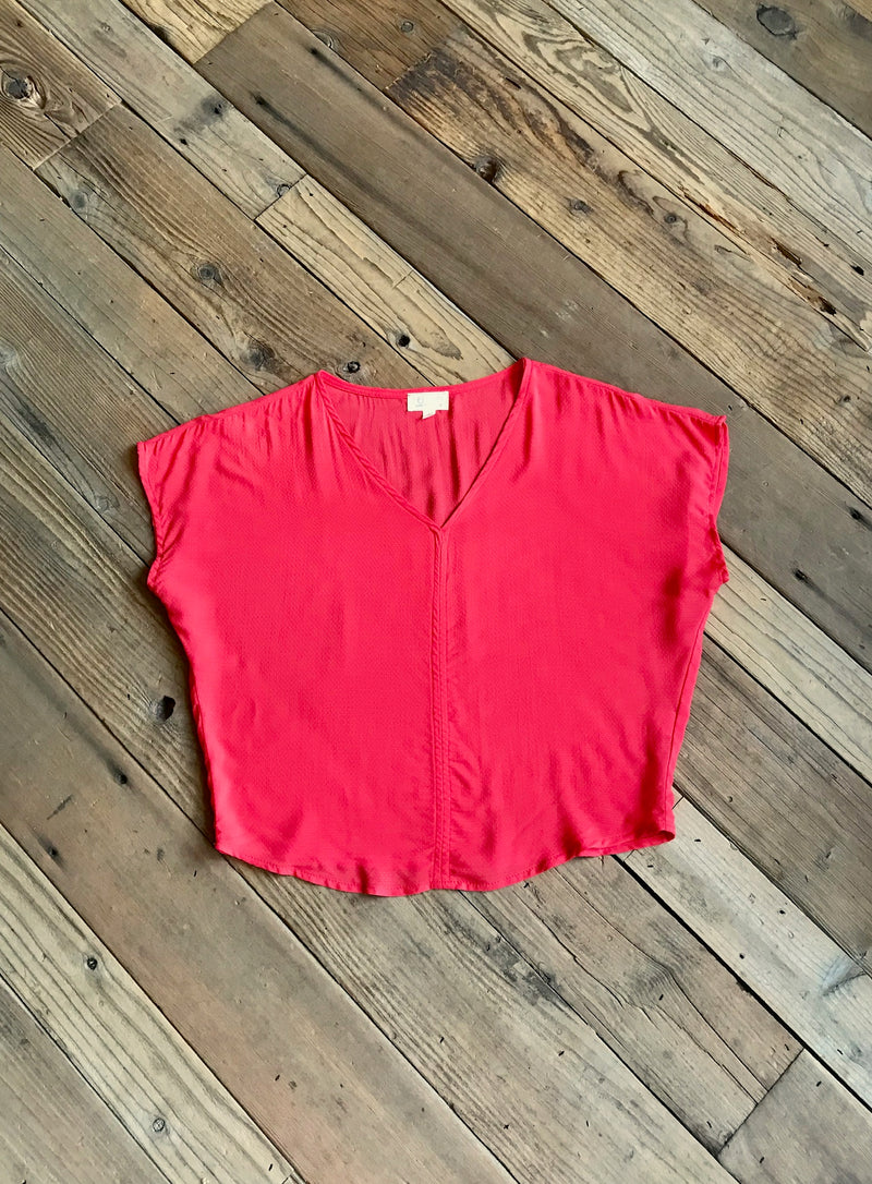 Dolman Top in Electric Coral