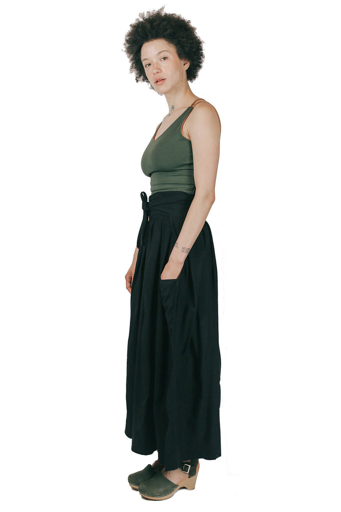 Maxi Wrap Skirt in Black