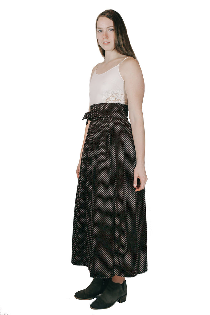 Maxi Wrap Skirt in Brown Dot