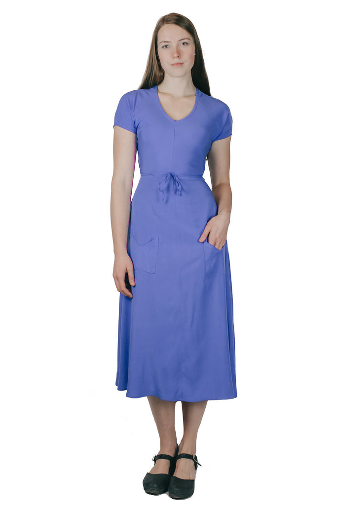 Belted Bias Dress in Corn Flower Blue
