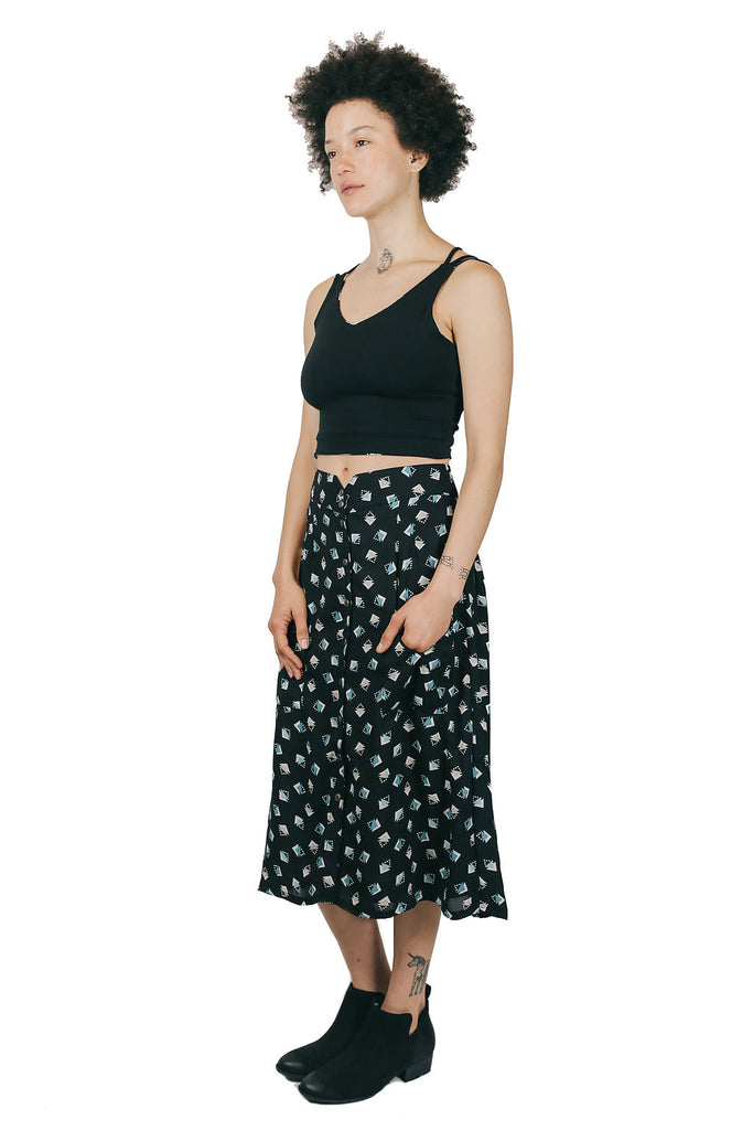 Midi Skirt in Black Geometric