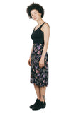 Midi Skirt in Black Herbal