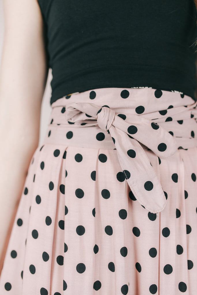 Maxi Wrap Skirt In Pink Black Polka Dots