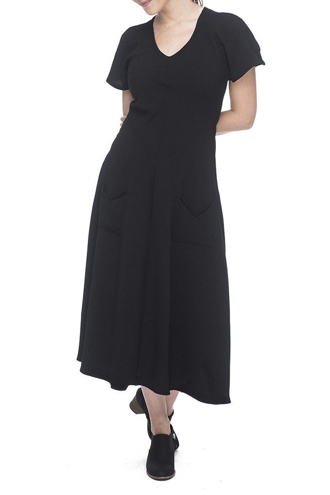 Bias Dress in Black Crepe