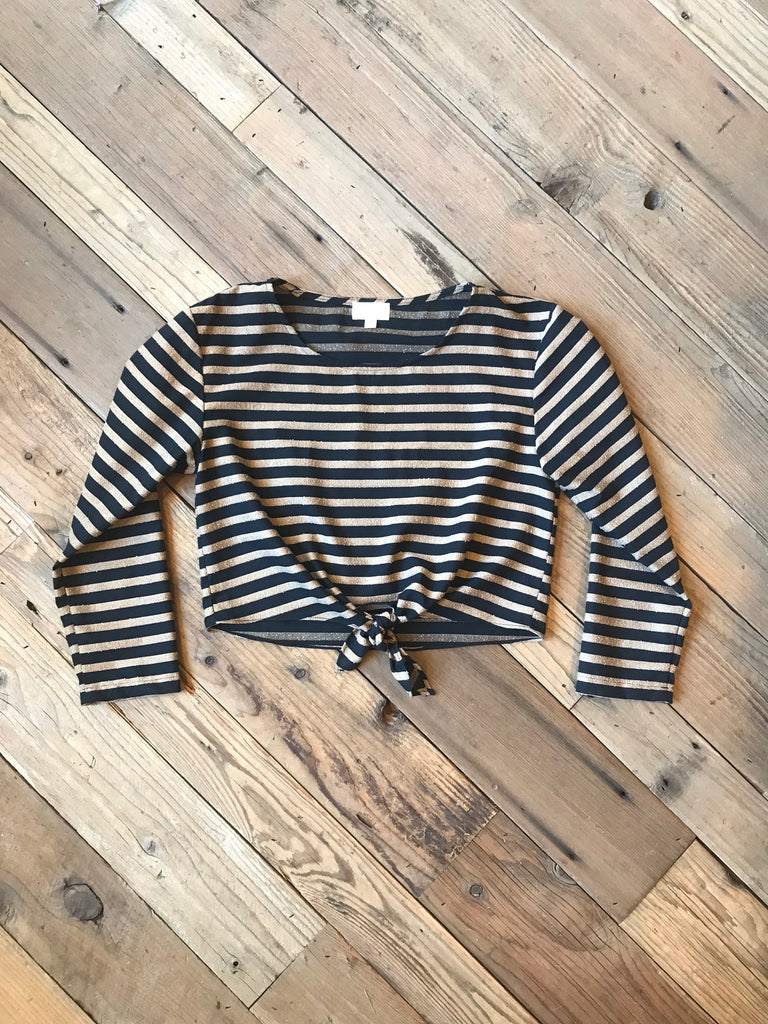 Tie Top in Black Stripe