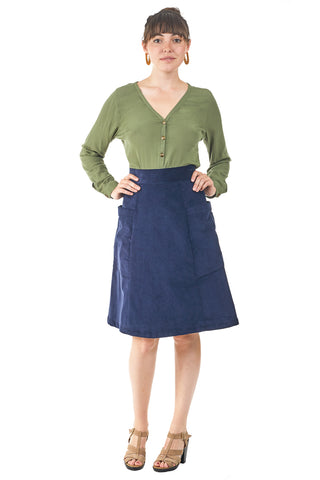 Midi Skirt in Moss Chambray