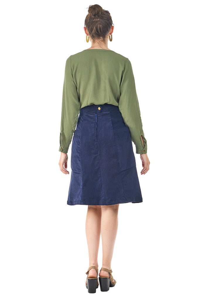 The Atheno Skirt in Midnight Corduroy by Field Day