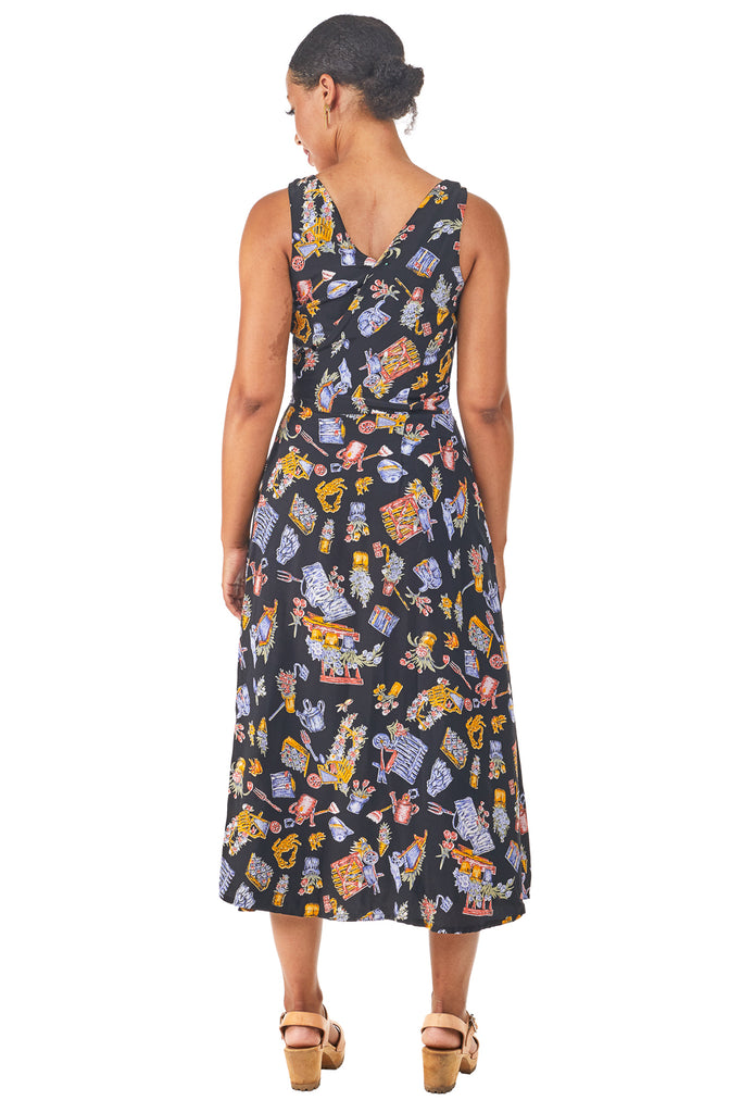 Long Wrap Dress in Dark Garden
