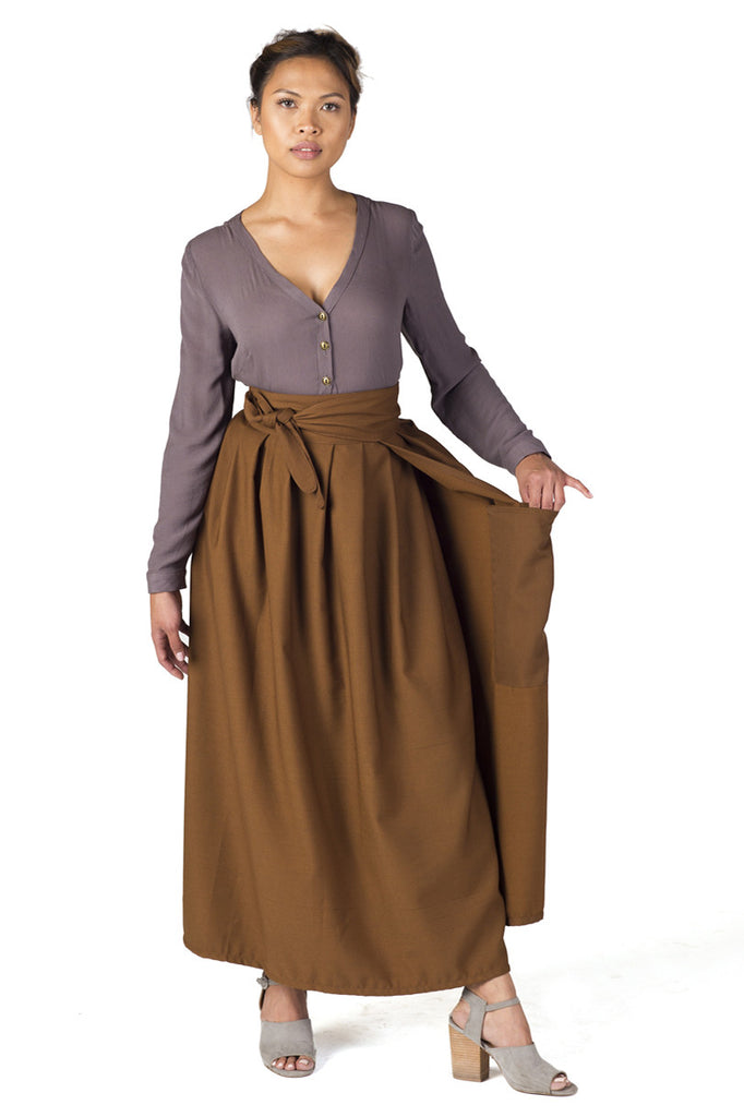 Maxi Wrap Skirt in Sienna