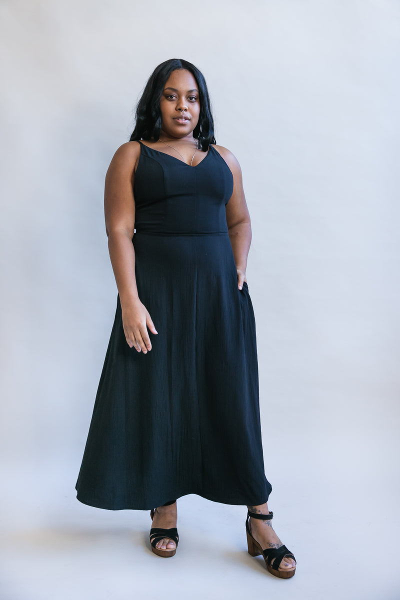 Meadow Dress in Black Rayon Crepe