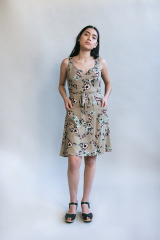 Belted Bias Dress in Sweet Pea Challis