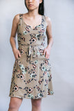Wrap Dress in Taupe Floral