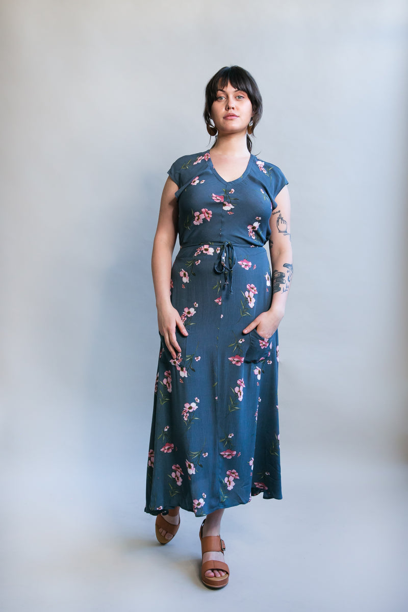 Belted Bias Dress in Dusk Blue Floral Crepe