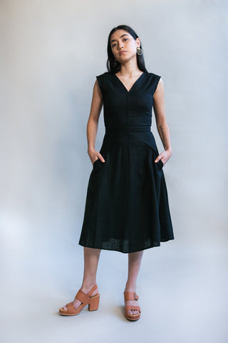 Belted Bias Dress in Black Nervine New Edition