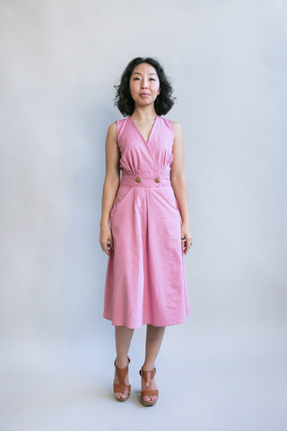 Wrap Dress in Mauve Challis