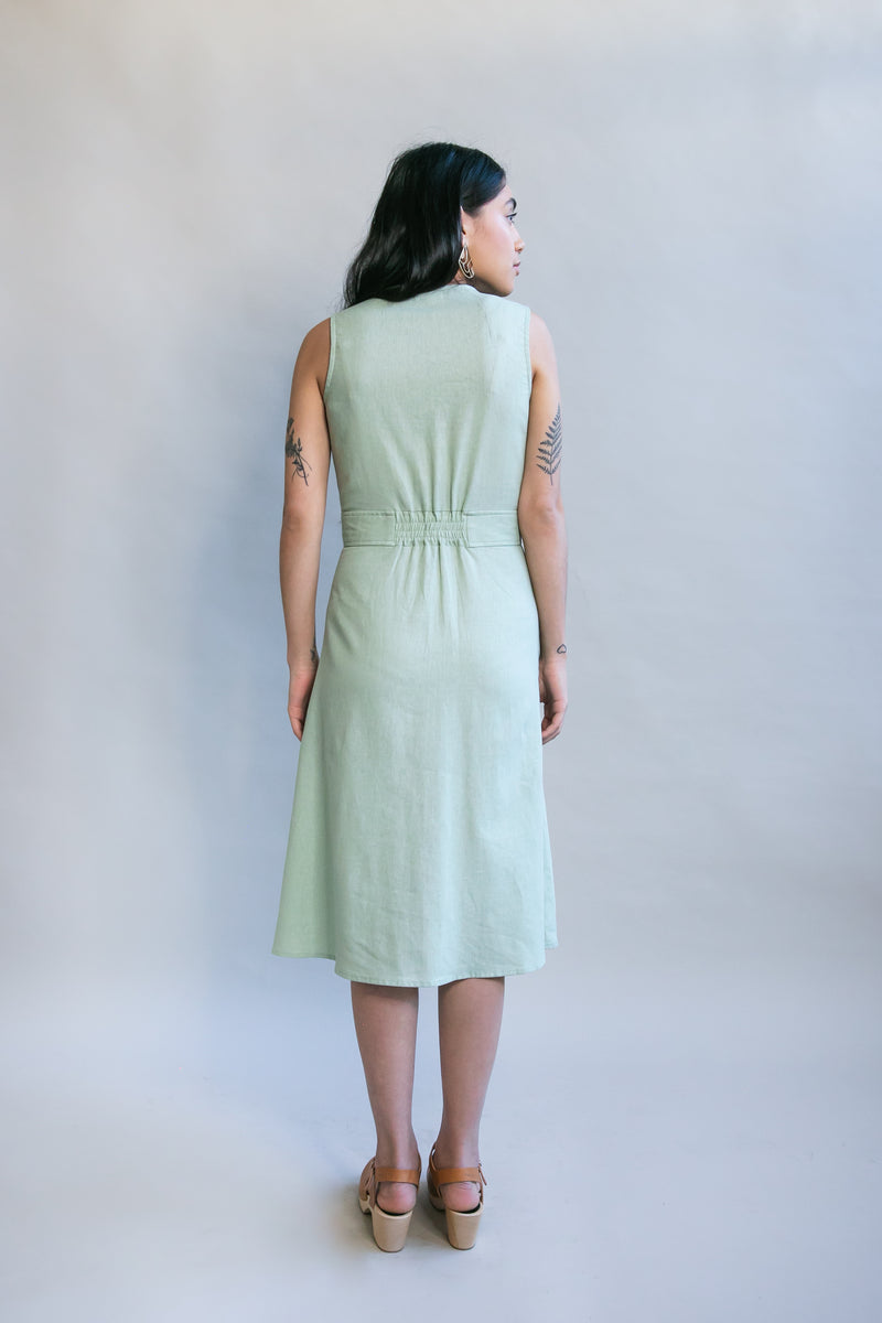 Winona Dress in Sage Linen