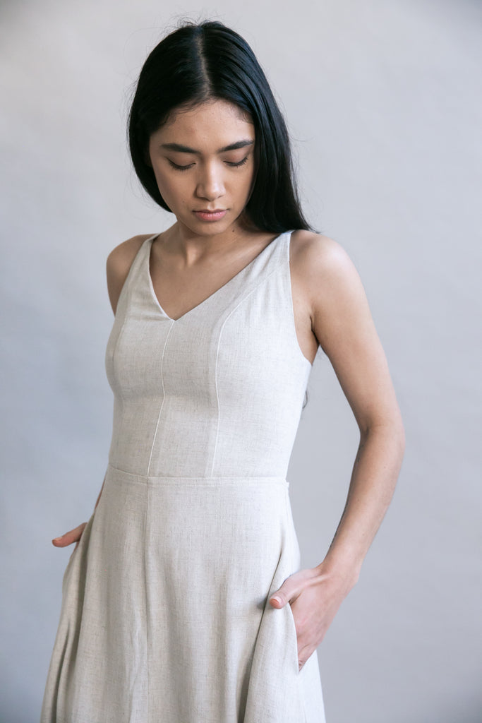 Meadow Dress in Oat Straw Linen