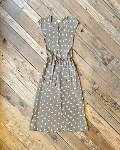 Belted Bias Dress in Olive Rose Bud